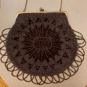 BCBGMAXAZRIA Beaded brown velvet vintage look bag
